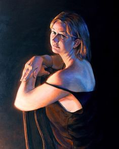 """Kissed By Firelight"" acrylic on panel. Today is Kim's birthday! I am so fortunate to have such a loving and supportive wife. Behind every great man is a great woman rolling her eyes.  When I first met her in a college art class we were told to sketch the person sitting across from us and there was Kimmie. I had no idea we would end up together and now I can't imagine life without her. I painted this portrait from life in 2017 in my studio. I look forward to painting many more portraits of… Behind Every Great Man, Person Sitting, Great Women, Sketch, College, Portraits, Posts, Drawing, Woman"