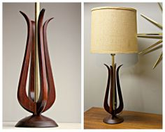 60's Vintage Mid Century Danish Modern TEAK sculptured Table Lamp Light Mad Men