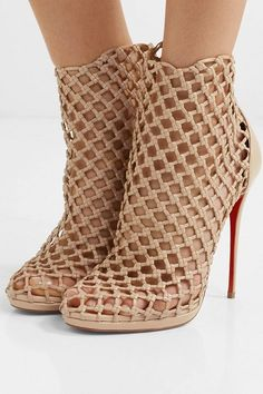 dab5b5f77220 Christian Louboutin Porligat 120 Woven Leather Ankle Boots