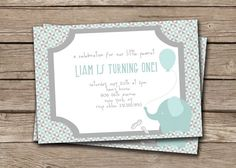 {Liam} Baby Elephant Boy Birthday Invitation. Custom Birth Announcement Invite. Little Peanut Blue Gray.   http://www.etsy.com/listing/78389784/baby-elephant-boy-first-birthday
