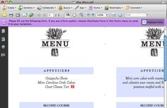 Easy step-by-step instructions on how to use an editable PDF wedding menu template.