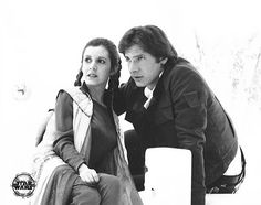 Carrie Fisher and Harrison Ford filming The Empire Strikes Back.