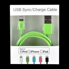 Apple iPhone 5S - iPhone 6/Plus - 3.5ft MFI Round Wire Data Cable Green - myaccessoryguy
