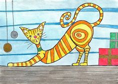 Quirky Cat  with Gifts Greeting Card by Inkdoodles on Etsy, £2.90