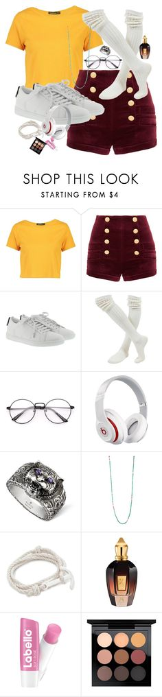 """""""ZUT"""" by amourcheri ❤ liked on Polyvore featuring Boohoo, Pierre Balmain, Yves Saint Laurent, Beats by Dr. Dre, Gucci, M. Cohen, MIANSAI, Xerjoff and MAC Cosmetics"""