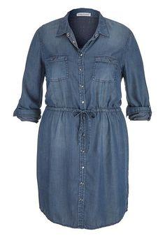 plus size chambray shirt dress in dark wash