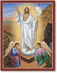 By death has He trampled down death! In this Easter icon holy angels kneel in awe before the Risen Christ, who looks heavenward and stands in on the door of His tomb carrying the banner of victory.