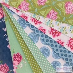 Tilda Gardenparty Fabric Selection  9 pieces of by FabriClutter, £14.99