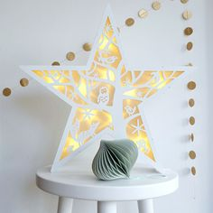 Large White Wooden Star Winter Night Light Ornament