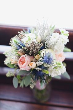 bouquet with blue thistle   Flora and Fauna #wedding