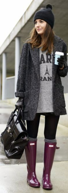 Fashionable Jacket with Sport T-Shirt, Tights, Beanie Hat, Burgundy Long Boots and Black Handbag