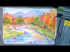 How to paint fall foliage in watercolor pencils - YouTube