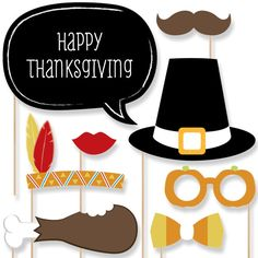 20 pc. Give Thanks Photo Booth Props - Thanksgiving Party Prop Kit with Mustache, Hat, Bow Tie, Glasses and Custom Talk Bubble #thanksgiving #photoboothprops