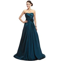 Teal Full Skirt Strapless Lace Up Back Taffeta Prom Dress With Flower