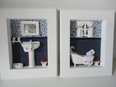 Quadro para lavabo, com fundo em tecido 100% algodão, com peças em resina e flores secas. R$ 129,90