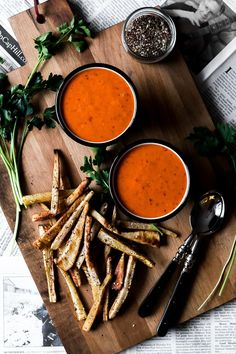 harissa tomato soup + za'atar roasted parsnip fries via Faring Well