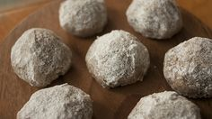 Spent Grain Wedding Cookies // In the future, I'd roll them smaller than golf ball size to maximize powdered sugar ratio.
