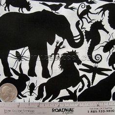 Alexander Henry ANIMAL KINGDOM Black & White Animals Quilt Fabric 1 Yard