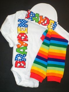 Personalized Take Home Baby outfit in rainbow colors, by FiestaKidsBoutique
