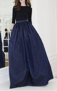 Long Taffeta Skirt by Martin Grant for Preorder on Moda Operandi - This taffeta Martin Grant skirt features ruching at the high waist and a tonal waist band.