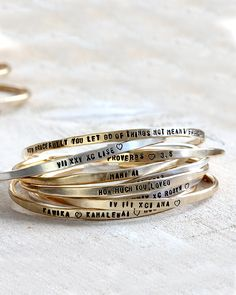 I love working in batches because when I'm done I love having a huge stack of silver and brass bracelets to look at. :-) - Allison from Praxis Jewelry