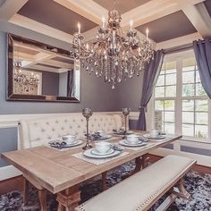 rustic chic dining room: Archer dining table, Omni chandelier, Omni mirror and b. - Salle A Manger Farmhouse Dining Room Set, Dining Room Table Decor, Dining Room Design, Dining Room Furniture, Kitchen Decor, Dining Table Chandelier, Entry Chandelier, Farmhouse Chic, Fine Furniture