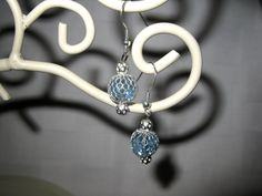 Bright blue 10mm faceted beaded dangle earrings by MadeByCwithLove, $10.00