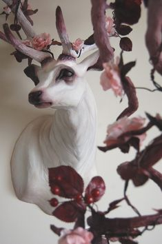 "pink - deer - ""Doe Ray Me"" - flora and fauna - sculpture - Natasha Cousens Art Sculpture, Animal Sculptures, Arte Fashion, Animal Heads, Animal Drawings, Art Inspo, Amazing Art, Art Dolls, Ceramic Sculptures"