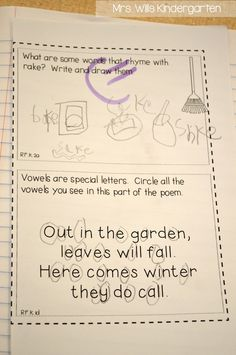 Ideas for interactive pages in poetry notebook- From Mrs. Wills kindergarten