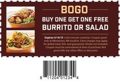 Buy One Get One Free Coupon | Wenatchee, WA | Cafe Rio Mexican Grill