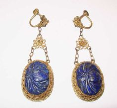 Vintage Chinese Silver Filigree & Carved Lapis Lazuli Drop Earrings in Jewelry & Watches, Vintage & Antique Jewelry, Vintage Ethnic/Regional/Tribal, Asian & East Indian | eBay