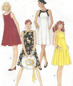 90s Womens Tent Dress Princess Seams Neckline Variations