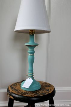 Turquoise Shabby Chic Lamp (Annie Sloan Chalk Paint)
