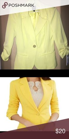 Yellow XOXO Blazer Fitted with 3/4 sleeve and single gold button closure XOXO Jackets & Coats Blazers