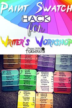 Elementary teacher needs these easy to make vocabulary paint chips for writer's workshop. This is a perfect addition for any writer's workshop folder. | writers workshop ideas|