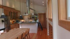 Kitchen in deluxe man cave on Orcas Island, WA. Constructed by Spane Buildings of Mount Vernon, WA.