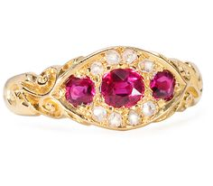 Fully Hallmarked Antique Ruby Diamond Ring