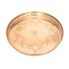 Vintage Round Brass Serving Tray, Large Engraved Brass Gallery Tray, Mid Century Indian Brass, Hollywood Regency Tray, Gold Cocktail Tray by TwoTimeVintage on Etsy https://www.etsy.com/listing/539257429/vintage-round-brass-serving-tray-large