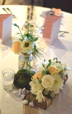 Centre de table mariage-blanc pêche-champetre nature-Bois-wedding