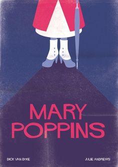 Mary Poppins | 28 Posters minimalistas de Disney para el cuarto del bebé