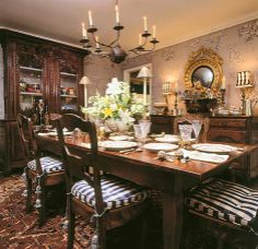 Charles Faudree. Presided over by an imposing buffet, the dining room has an antique French farm table and candlelit chandelier. One of Charles' first acquisitions—an antique tole footbath—has a place of honor beneath the French Empire convex mirror.