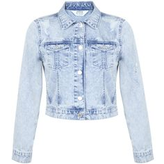 Miss Selfridge Bleach Ripped Denim Jacket (£28) ❤ liked on Polyvore