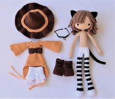 Note: This listing is for a crochet pattern only - it is not the finished doll! Jinx the Cat is crocheted from the bottom of her feet to the top of her head as one piece, even the arms are joined to the body. Her clothes are removable so she would also make a great base doll CLICK Visit link above to read more