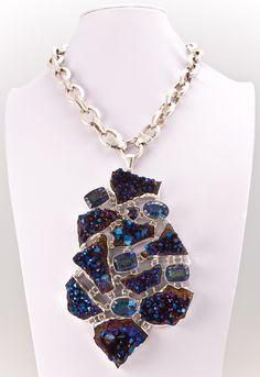 Style# LBUN27: Titanium Treated & Mystic Quartz Pendant. Retail $2400