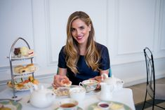 Enjoying treats at the Orangery, London, wearing my navy Burberry dress