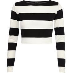 River Island Black and white chunky stripe crop top ($14) ❤ liked on Polyvore featuring tops, shirts, crop top, blusas, sweaters, sale, striped crop top, striped shirt, black and white long sleeve shirt and black and white striped shirt