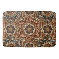 #Colorful abstract ethnic floral mandala pattern de bath mat - #Bathroom #Accessories #home #living