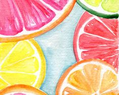 Original naranja, limón, pomelo rodajas acuarelas pinturas originales, fruta arte acuarela, acuarela original de la fruta cítrica, 4 x 6