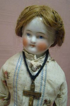 16 In. 1850s Bald China Shoulder Head Doll, Original Human Hair Wig and Body