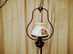 Lampe+suspension+quinquet+vintage+fleurie+décoration+déco+décor+unique